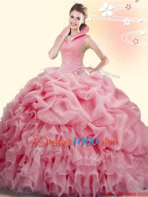 Beading and Ruffles and Pick Ups Quinceanera Dress Watermelon Red Backless Sleeveless Brush Train