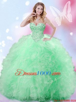 Fitting Sweetheart Sleeveless Lace Up Vestidos de Quinceanera Apple Green Tulle