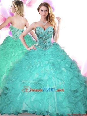 Graceful Organza Sleeveless Floor Length Quinceanera Dress and Beading