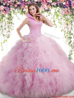 Hot Sale Lilac Sleeveless Tulle Backless Vestidos de Quinceanera for Military Ball and Sweet 16 and Quinceanera