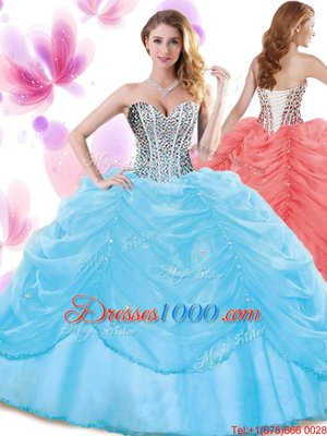 Edgy Baby Blue Ball Gowns Organza Sweetheart Sleeveless Beading and Pick Ups Floor Length Lace Up 15 Quinceanera Dress