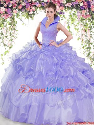 Modest Ruffled Floor Length Ball Gowns Sleeveless Lavender Quinceanera Dress Backless