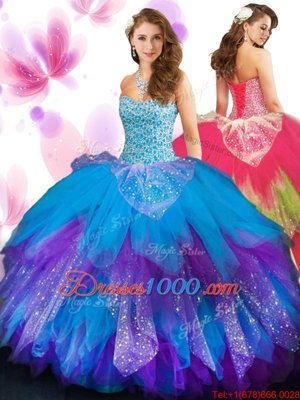 Beautiful Multi-color Sleeveless Floor Length Beading and Ruffled Layers Lace Up Quinceanera Dresses