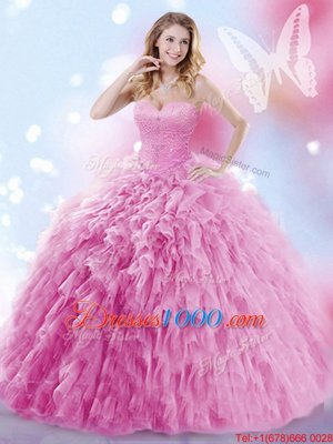 Lovely Tulle Sweetheart Sleeveless Brush Train Lace Up Beading and Ruffles Sweet 16 Dresses in Rose Pink
