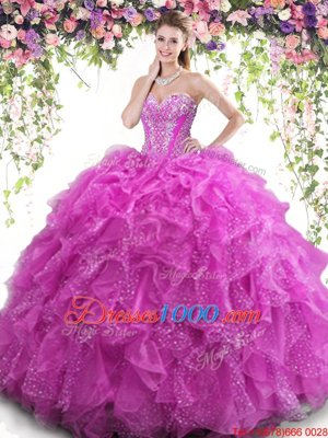 Luxurious Beading and Ruffles 15 Quinceanera Dress Fuchsia Lace Up Sleeveless Floor Length