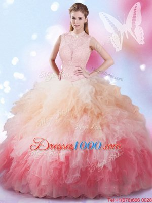 Pretty Multi-color Lace Up Quinceanera Gowns Beading and Ruffles Sleeveless Floor Length