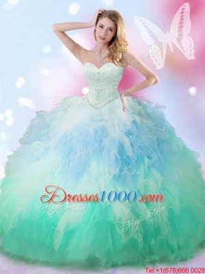 Blue Tulle Lace Up Ball Gown Prom Dress Sleeveless Floor Length Beading and Ruffles