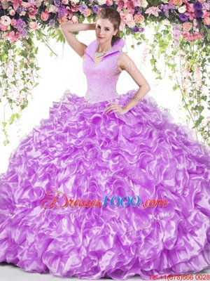 Smart Backless Lilac Sleeveless Beading and Ruffles Floor Length Sweet 16 Dress