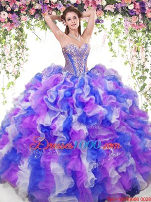 Multi-color Ball Gowns Beading and Ruffles Vestidos de Quinceanera Lace Up Organza Sleeveless Floor Length