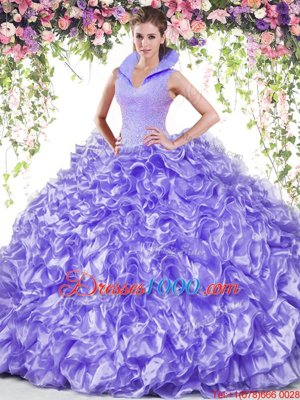 Elegant Lavender Organza Backless High-neck Sleeveless Floor Length Quinceanera Dress Beading and Ruffles
