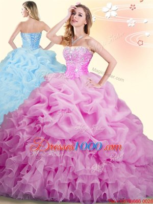 Luxury Pick Ups Lilac Sleeveless Organza Brush Train Lace Up 15 Quinceanera Dress for Military Ball and Sweet 16 and Quinceanera
