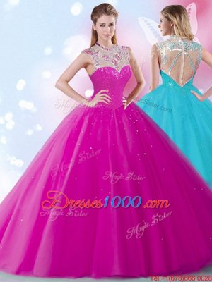 Scoop Beading and Sequins Ball Gown Prom Dress Fuchsia Zipper Sleeveless Floor Length