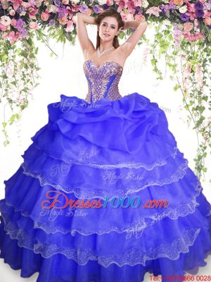 Classical Blue Organza Lace Up Sweetheart Sleeveless Floor Length 15th Birthday Dress Beading and Ruffled Layers and Pick Ups