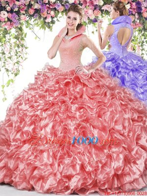 High-neck Sleeveless Organza 15th Birthday Dress Beading and Ruffles Backless