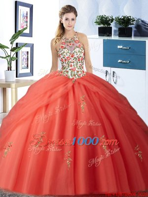 Exquisite Halter Top Pick Ups Floor Length Ball Gowns Sleeveless Orange Red 15 Quinceanera Dress Lace Up