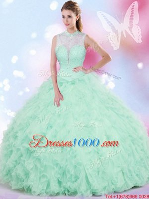 Cheap Sleeveless Lace Up Floor Length Beading and Ruffles Quince Ball Gowns