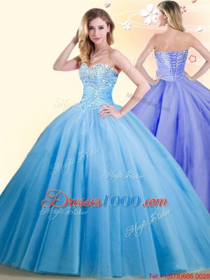 Sweetheart Sleeveless Lace Up Quinceanera Dresses Baby Blue Tulle