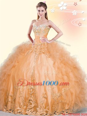 Luxurious Tulle Sleeveless Floor Length Sweet 16 Dress and Beading and Appliques and Ruffles