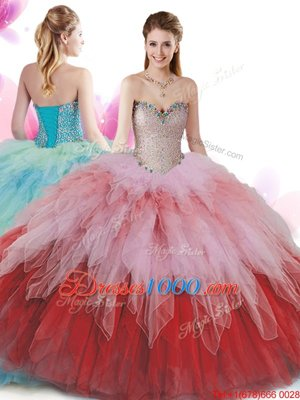 Attractive Tulle Sweetheart Sleeveless Lace Up Beading and Ruffles Sweet 16 Dress in Multi-color
