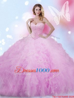 Lilac Tulle Lace Up Sweet 16 Dresses Sleeveless Floor Length Beading and Ruffles