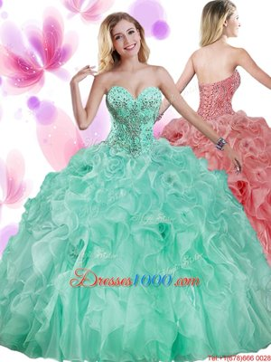 Attractive Watermelon Red Sleeveless Beading Floor Length Quinceanera Gowns