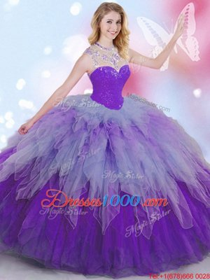 Superior Sleeveless Floor Length Beading and Ruffles Zipper Sweet 16 Quinceanera Dress with Multi-color