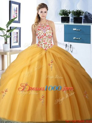 Low Price Halter Top Sleeveless Tulle Quinceanera Dresses Embroidery and Pick Ups Lace Up