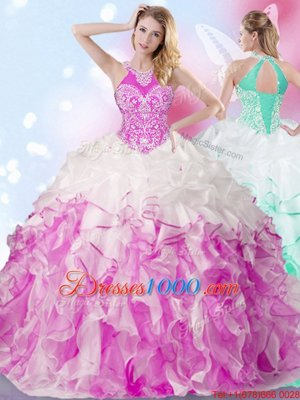 Stunning Multi-color Ball Gowns Organza Halter Top Sleeveless Beading and Ruffles and Pick Ups Floor Length Lace Up Sweet 16 Dress