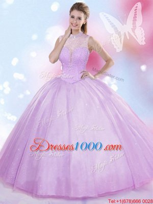 Lavender Lace Up High-neck Beading Quinceanera Gown Tulle Sleeveless