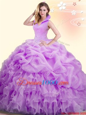 Lilac Backless High-neck Beading and Appliques and Pick Ups Quince Ball Gowns Organza Sleeveless