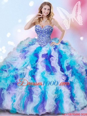 Glorious Multi-color Organza Lace Up Sweetheart Sleeveless Sweet 16 Quinceanera Dress Beading and Ruffles
