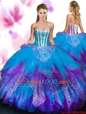 Sleeveless Tulle Floor Length Lace Up Sweet 16 Dresses in Multi-color for with Beading and Ruffled Layers