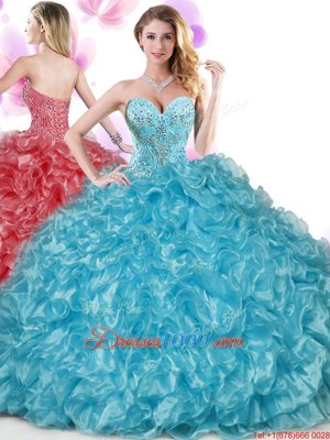 Captivating Beading and Ruffles and Pick Ups Sweet 16 Quinceanera Dress Rose Pink Lace Up Sleeveless Floor Length