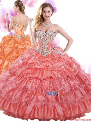 Smart Orange Halter Top Lace Up Embroidery and Pick Ups 15 Quinceanera Dress Sleeveless