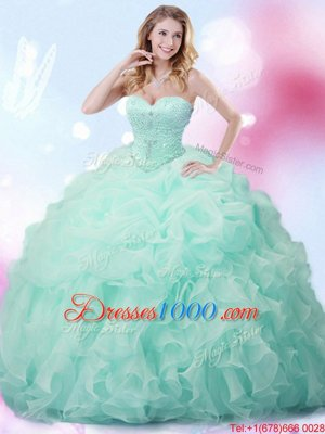 Admirable Sweetheart Sleeveless Quinceanera Gown With Brush Train Beading and Ruffles and Pick Ups Apple Green Organza