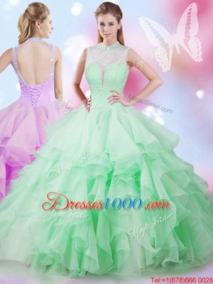 Affordable Apple Green Ball Gowns Tulle High-neck Sleeveless Beading and Ruffles Floor Length Lace Up Sweet 16 Dresses
