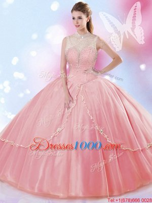 Custom Made Watermelon Red Ball Gowns Tulle High-neck Sleeveless Beading Floor Length Lace Up Quince Ball Gowns