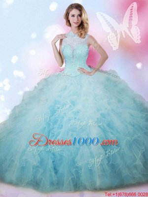 Admirable Sleeveless Floor Length Beading and Ruffles Lace Up 15 Quinceanera Dress with Baby Blue