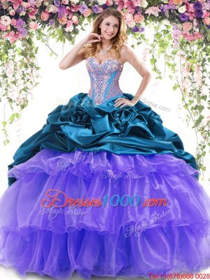 Dazzling Pick Ups Ruffled Brush Train Ball Gowns Quince Ball Gowns Multi-color Sweetheart Organza and Taffeta Sleeveless With Train Lace Up