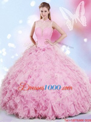 Custom Fit Rose Pink Tulle Lace Up Halter Top Sleeveless Floor Length 15th Birthday Dress Beading and Ruffles