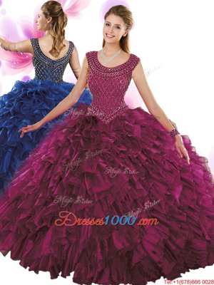 Scoop Floor Length Fuchsia Quinceanera Gown Organza Sleeveless Beading and Ruffles