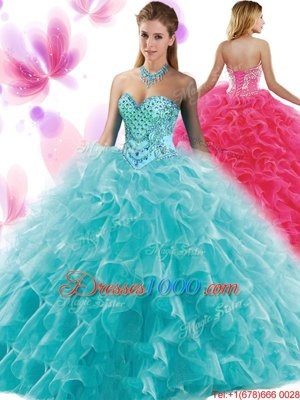 Royal Blue Quinceanera Gown Military Ball and Sweet 16 and Quinceanera and For with Appliques and Ruffles and Pick Ups Halter Top Sleeveless Lace Up