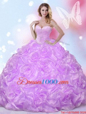 Lavender Fabric With Rolling Flowers Lace Up Sweet 16 Dresses Sleeveless Floor Length Beading