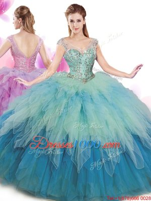 Excellent Apple Green Sleeveless Floor Length Beading and Ruffles and Sequins Zipper Sweet 16 Dress