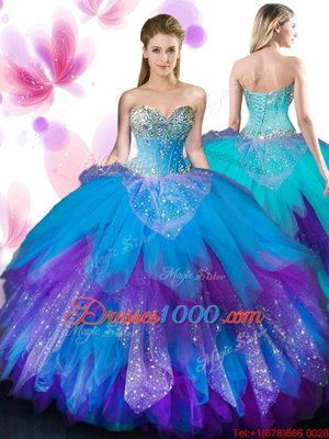 Spectacular Beading and Ruffles 15th Birthday Dress Multi-color Lace Up Sleeveless Floor Length