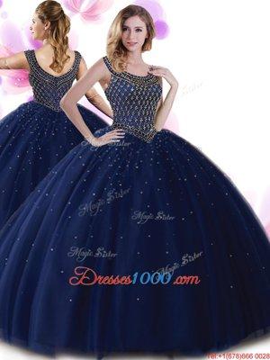 Scoop Navy Blue Zipper Ball Gown Prom Dress Beading Sleeveless Floor Length