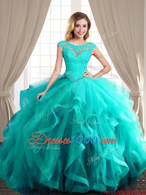 Scoop With Train Turquoise Sweet 16 Dresses Tulle Brush Train Cap Sleeves Beading and Appliques and Ruffles