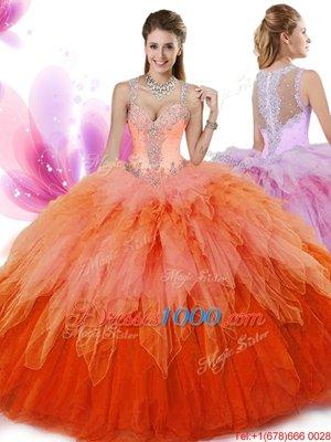 Super Multi-color Sleeveless Floor Length Beading and Ruffles Zipper Sweet 16 Dresses