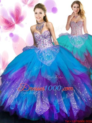 Fancy Ruffled Sweetheart Sleeveless Lace Up Quinceanera Gown Multi-color Tulle