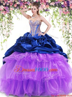 Beautiful Sleeveless Brush Train Beading and Ruffled Layers and Pick Ups Lace Up Quince Ball Gowns